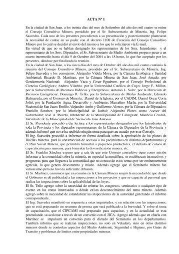 Actas 1 a 15 - Ministerio de Minería - San Juan