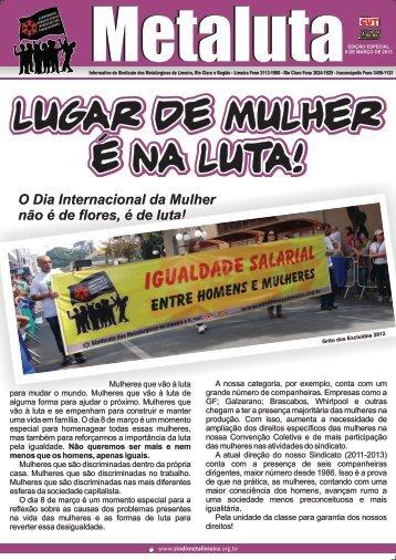8 de março de 2013 - Sindicato dos Metalúrgicos de Limeira e Região