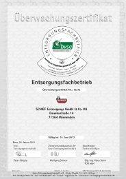 bvse-Zertifikat - Schief Entsorgungs GmbH & Co.KG