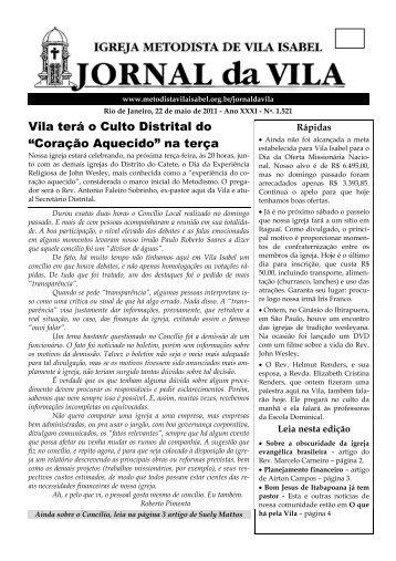 """Vila terá o Culto Distrital do """"Coração Aquecido"""" na terça"""