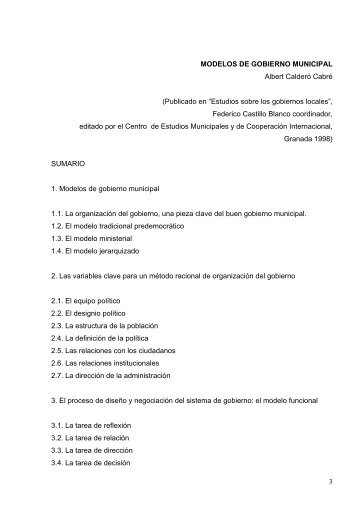 3 MODELOS DE GOBIERNO MUNICIPAL Albert Calderó Cabré ...