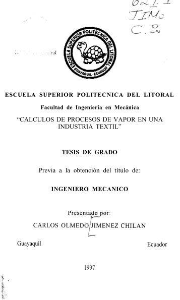 CALCULOS DE PROCESOS DE VAPOR EN UNA INDUSTRIA TEXTIL