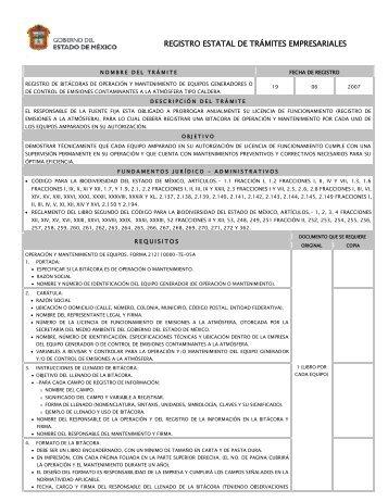 Registro de bitácoras de operación y mantenimiento de equipos ...