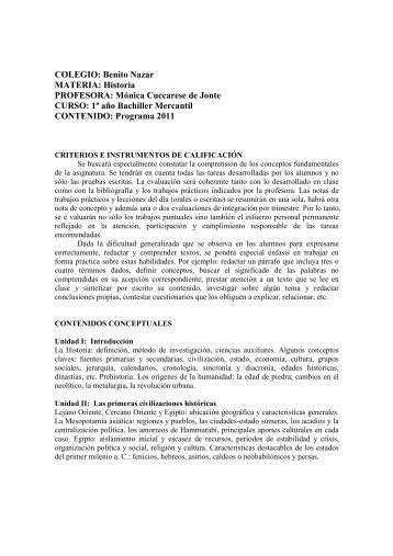 1BM HISTORIA PROGRAMA 2011 - Colegio Benito Nazar