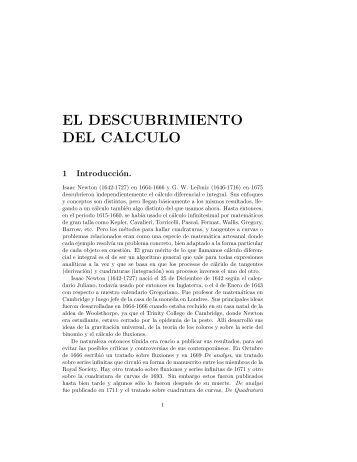 EL DESCUBRIMIENTO DEL CALCULO