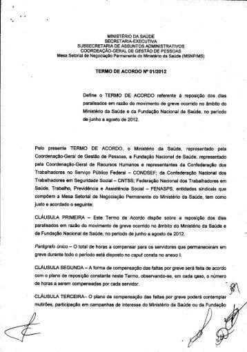 Termo de Acordo n.º 01/2012 Assinado - Condsef