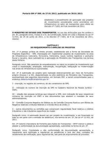 Portaria MT nº 09/2012 - Ministério dos Transportes