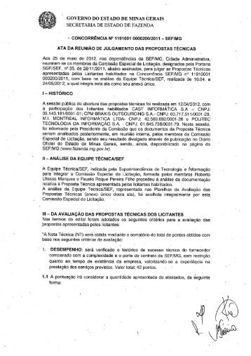 Ata - Julgamento das Propostas Técnicas - Secretaria de Estado de ...