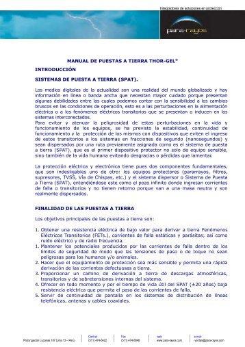 MANUAL DE PUESTAS A TIERRA THOR-GEL ... - Para Rayos SAC
