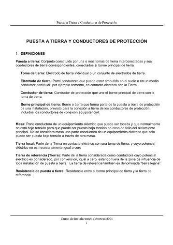 PUESTA A TIERRA Y CONDUCTORES DE PROTECCIÓN