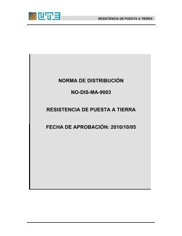 NO-DIS-MA9003 Resistencia de Puesta a Tierra - UTE