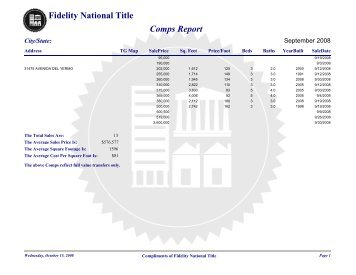 Comps Report - Fidelity National Title