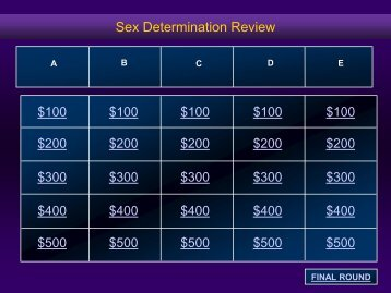 Sex Determination Jeopardy pdf