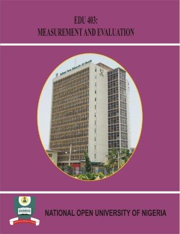 EDU 403 Measurement and Evaluation - National Open University ...