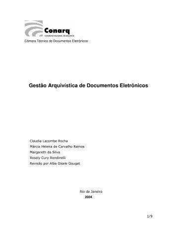 Gestão Arquivística de Documentos Eletrônicos - Câmara Técnica ...