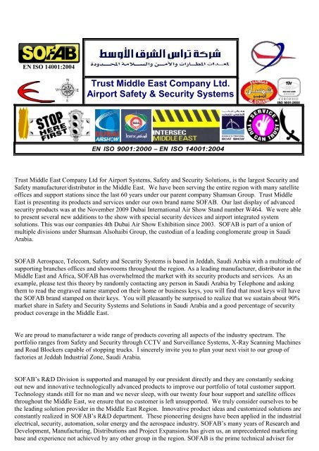 Trust Middle East Company Ltd  Airport Safety & Security