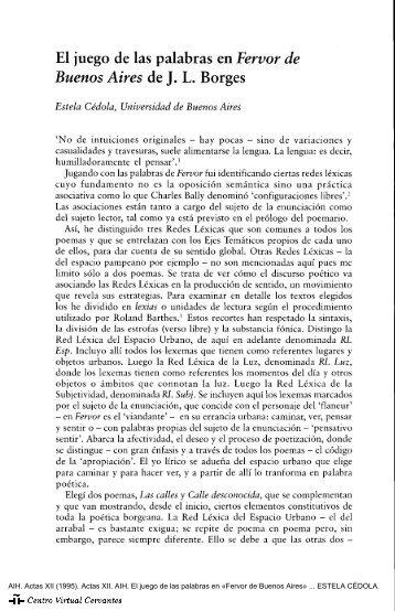 El juego de las palabras en Fervor de Buenos Aires de J. L. Borges