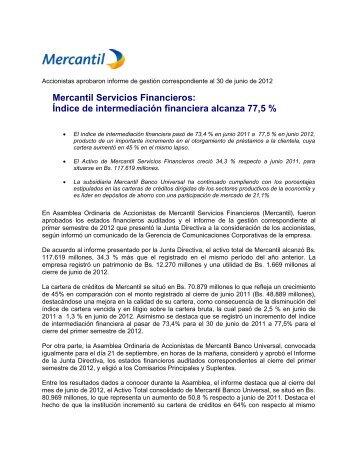 Accionistas aprobaron informe de gestión ... - Banco Mercantil