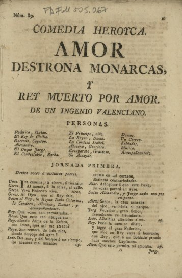 COMEDIA HEROTCA, RET MUERTO POR AMOR.