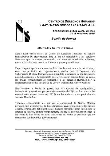 Albores de la Guerra en Chiapas - Centro de Derechos Humanos ...