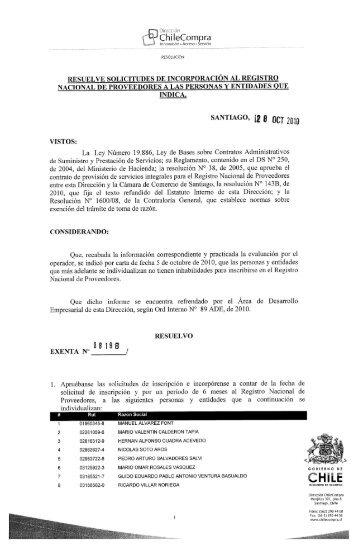 Resolución Proveedores Inscritos Septiembre ... - ChileProveedores