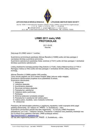 LRMD 2011 metų VNS PROTOKOLAS