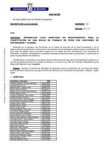 ANUNCIO - Ayuntamiento de Benifaió