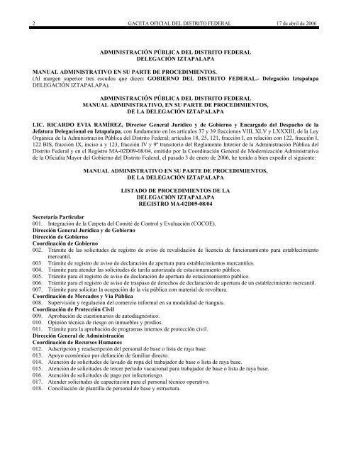 Manual Administrativo Procedimientos Iztapalapa 2006 Paot