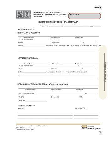 Registro de obra ejecutada - Gobierno del Distrito Federal