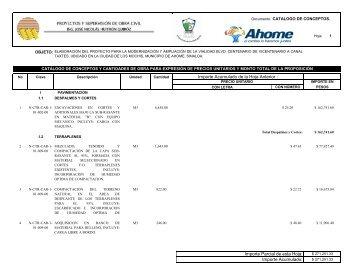 Importe Acumulado de la Hoja Anterior : Importe Parcial de esta ...