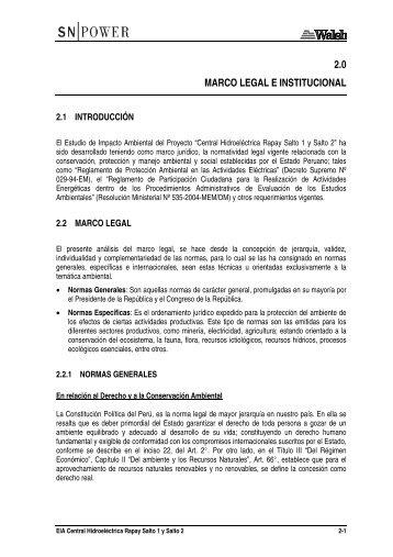 2.0 MARCO LEGAL E INSTITUCIONAL - Ministerio de Energía y Minas