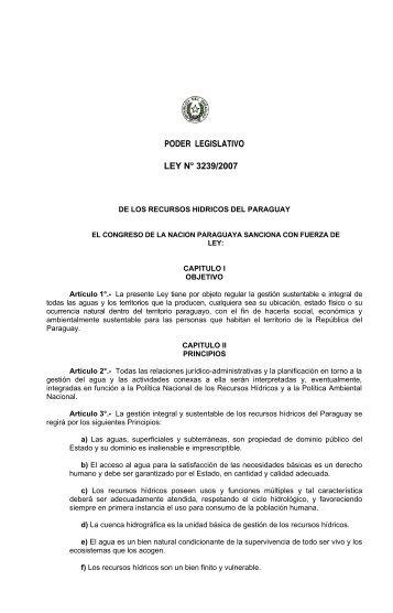 Ley 3239 (2007) - De Aguas - Geología del Paraguay