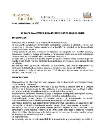Un Salto Cualitativo de la Información al Conocimiento - Lexis SA