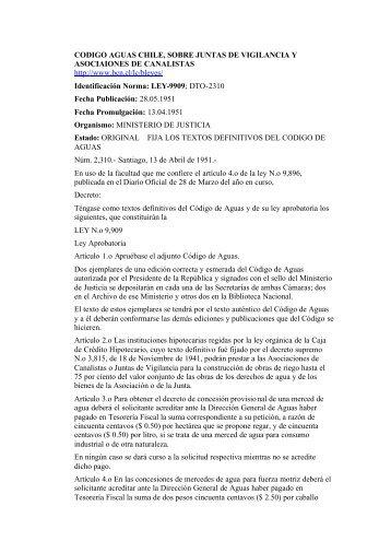 Codigo de Aguas Chile 1951 - Organización social y Riego
