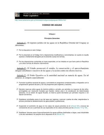 CODIGO DE AGUAS Artículo 1º.- El régimen jurídico de las aguas ...