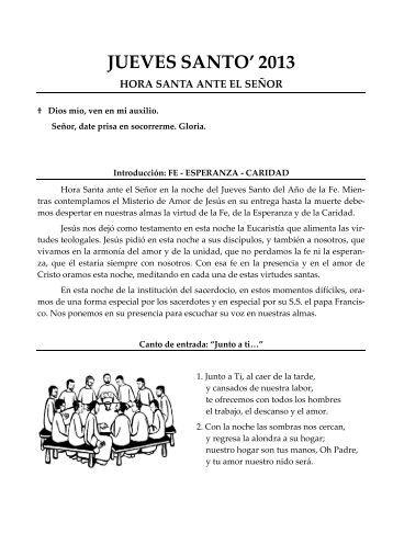 Hora Santa 2013 (Fe – Esperanza – Caridad) - Parroquia de la ...