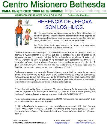 herencia de jehova son los hijos. - Centro Misionero Bethesda