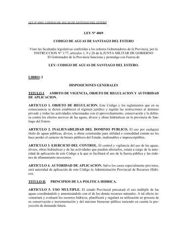 Ley Nº 4869 - Código de Aguas de Santiago del Estero