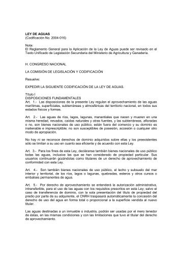 El Reglamento General para la Aplicación de la Ley de Aguas ...