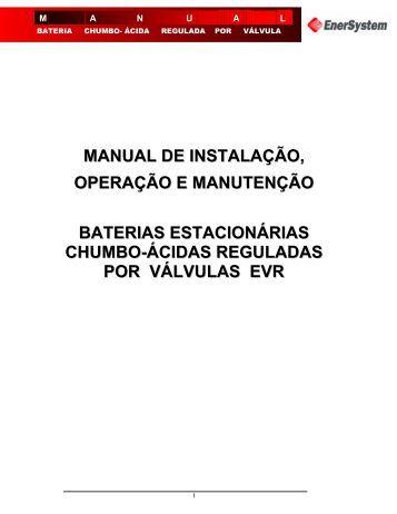 manual de instalação, operação e manutenção baterias - Enersystem