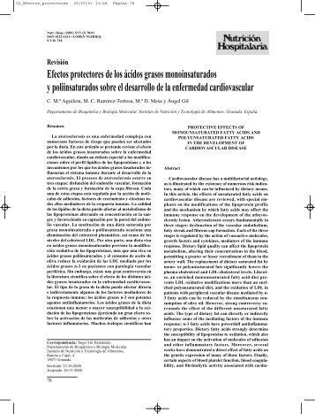 Efectos protectores de los ácidos grasos monoinsaturados y ...