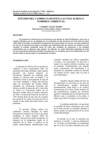ESTUDIO DEL CAMBIO CLIMÁTICO, LLUVIAS ÁCIDAS Y ...