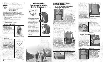 Manual del Propietario de la Serie Escapist - Osprey Packs, Inc
