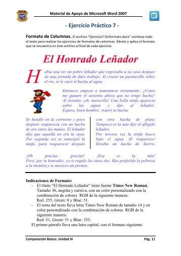 Ejercicio 7. Formato de Texto en Columnas