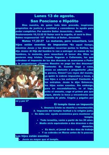 Lunes 13 de agosto. San Ponciano e Hipólito - Autores Catolicos