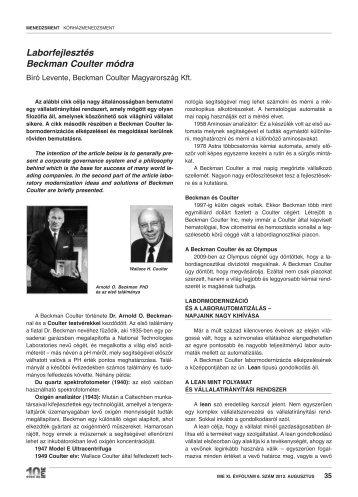 Laborfejlesztés Beckman Coulter módra - IME