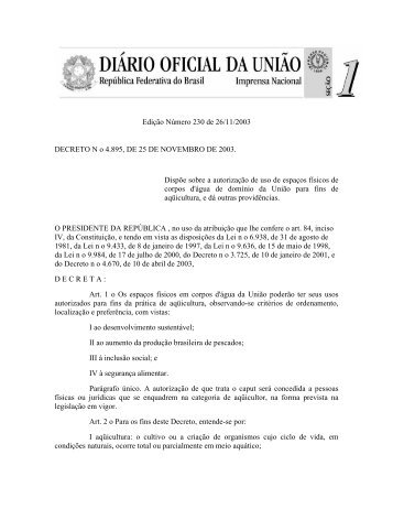 Decreto 4895/03 - Ecologia e Gestão Ambiental