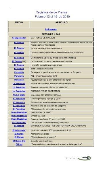 El Tiempo(Bogotá) - Ministerio de Minas y Energía