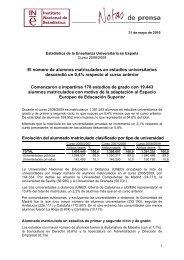 Estadística de Enseñanza Universitaria. Curso 2008-2009 - Instituto ...