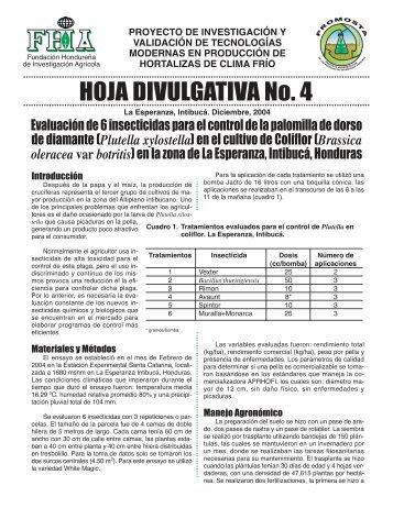 Hoja Divulgativa 4. Evaluación de 6 insecticidas para control ... - FHIA